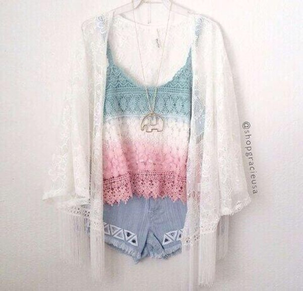 blouse outfit ootd top summer shorts cardigan fashion tank top jewels