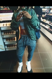 tracksuit,coat,shoes,grey,tumblr outfit,jacket,green jacket,sweatpants,joggers,crop tops,cropped,nike,ootd,socute,bomber jacket,green,white,orange,style,fashion,streetwear,streetstyle,pants,urban,grey sweatpants,dope