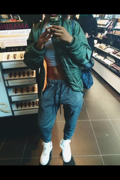 tracksuit coat shoes grey tumblr outfit jacket green jacket sweatpants joggers crop tops cropped nike ootd socute bomber jacket green white orange sweatpants style fashion streetwear streetstyle pants urban grey sweatpants grey sweatpants dope