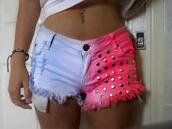 shorts,High waisted shorts,pink,tie dye,dip dyed,bright color,summer