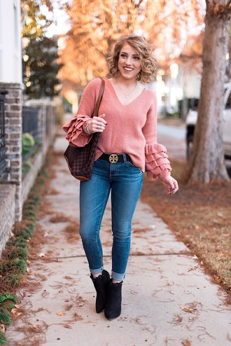something delightful blogger sweater jeans belt bag shoes jewels pink sweater louis vuitton bag tory burch belt ankle boots fall outfits
