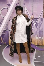shirt,boots,shirt dress,white top,white shirt,spring outfits,hat,celebrity,vanessa hudgens,coat,over the knee boots,suede boots