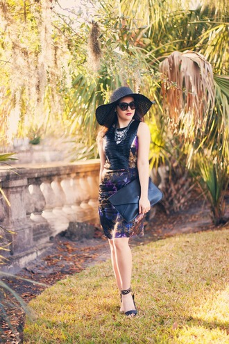 carly maddox blogger formal dress floppy hat black hat spring dress