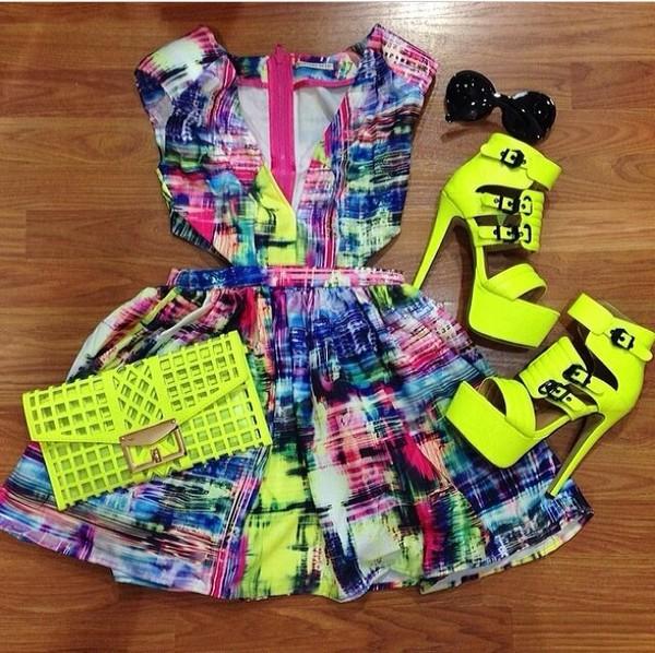 dress yellow neon bodycon heels party