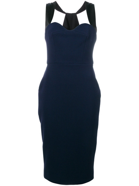 Victoria Beckham dress sweetheart dress women blue silk