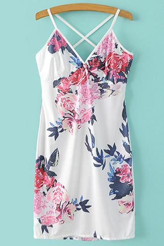 dress floral spring girly summer cute criss cross short dress