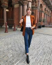 jeans,cropped jeans,ankle boots,black boots,blazer,white blouse