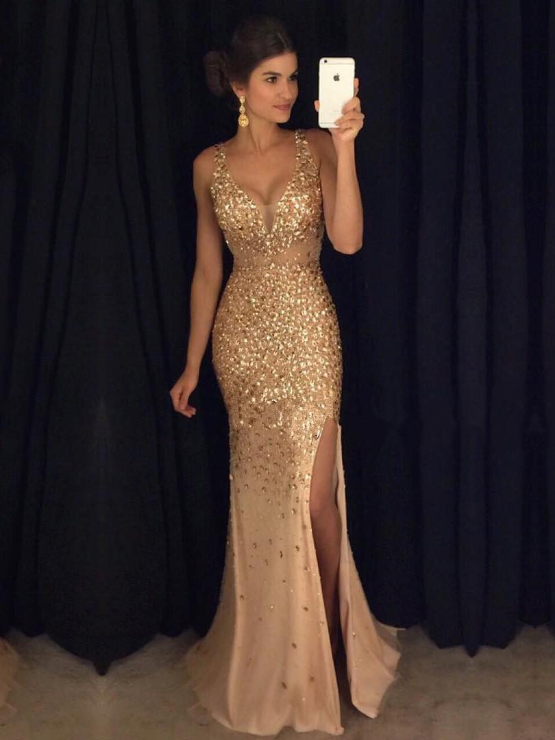 Column V-neck Tulle Floor-length Split Front Hot Prom Dresses ...