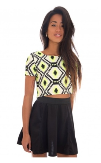 t-shirt white cream neon bright girly neon crop top yellows aztec aztecy pretty girl pattern pattern crop top cute short top unusal google top crop tops summer black yellow neon top shapes pattern top skirt