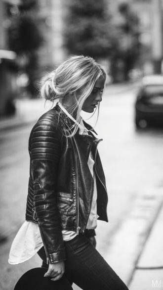 jacket leather jacket girl black leather jacket