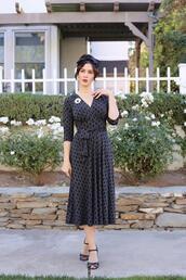 southerncaliforniabelle,blogger,dress,shoes,make-up,vintage,vintage dress,midi dress