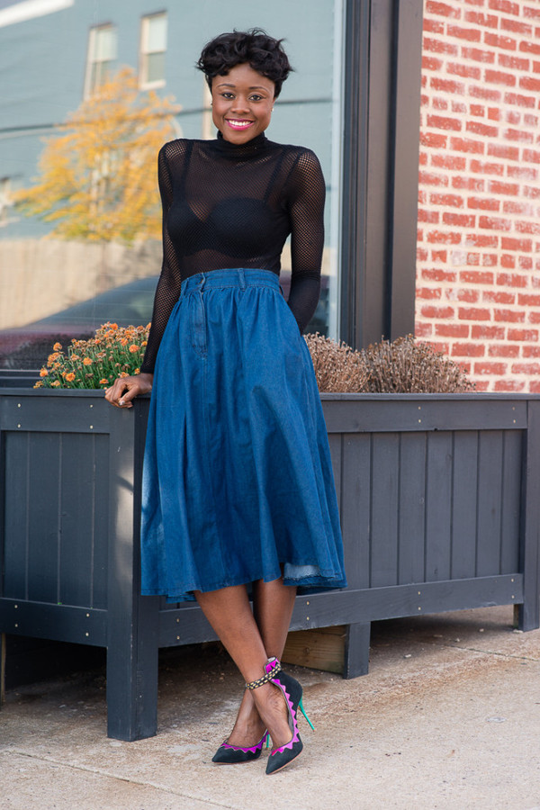 ASOS Denim Button Through Western Midi Skirt at asos.com