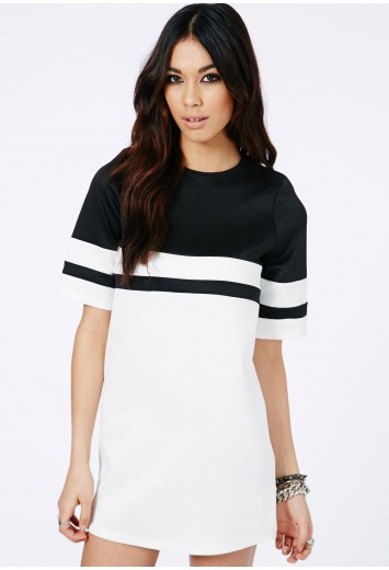 Omara Monochrome Mini Shift Dress - Dresses - Shift Dresses - Missguided