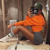 sweater,orange,hoodie,cozy,cropped,cropped hoodie,orange hoodie