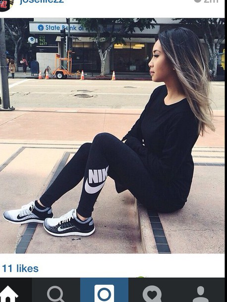 Black Leggings With White Running Shoes