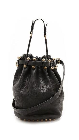 bag bucket bag gold black