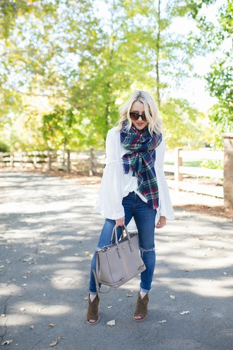 gbo fashion blogger top jeans shoes scarf bag jewels sunglasses fall outfits tartan scarf handbag ankle boots