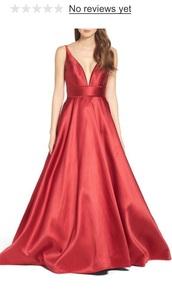 dress,red,flowing,cleavage,cleavage dress