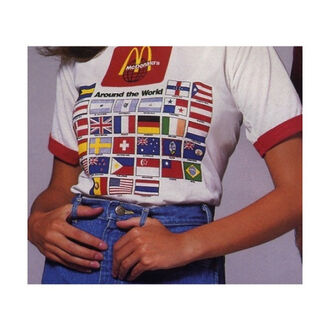 t-shirt vintage food flags cool 90s style brazil ireland 80s style 90's style grunge top shirt mcdonald's mcdonald's logo switzerland 90's shirt white t-shirt