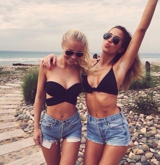 shorts tank top swimwear top black kenza blue summer hipster swimwear bustier crop tops black crop top fashion style denim shorts denim