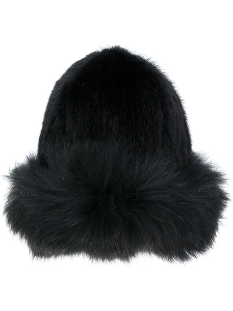 fur fox hat beanie black
