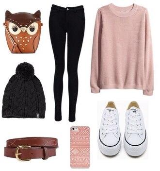 sweater pink sweater owl converse