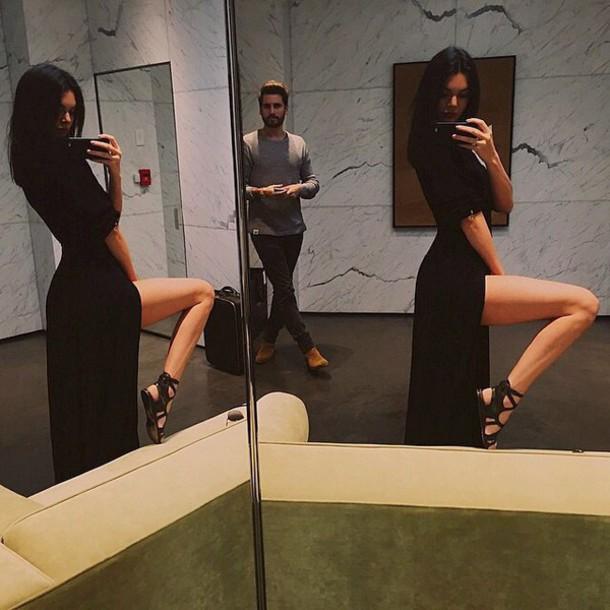 dress kendall jenner black dress maxi dress slit dress