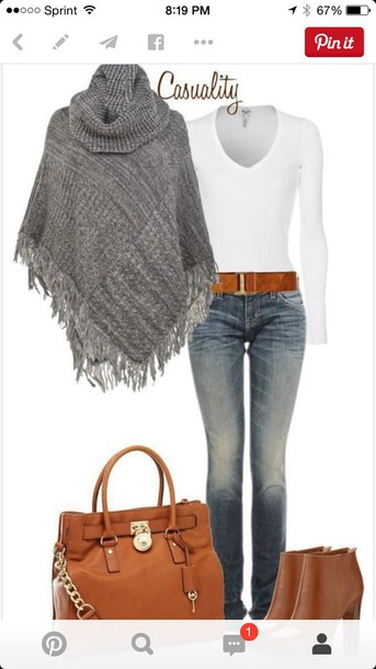 cardigan coat sweater style fashion boots top jeans pullover purse grey sweater fringes knitted cardigan