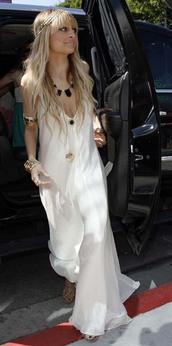 white dress,maxi dress,nicole richie,dress