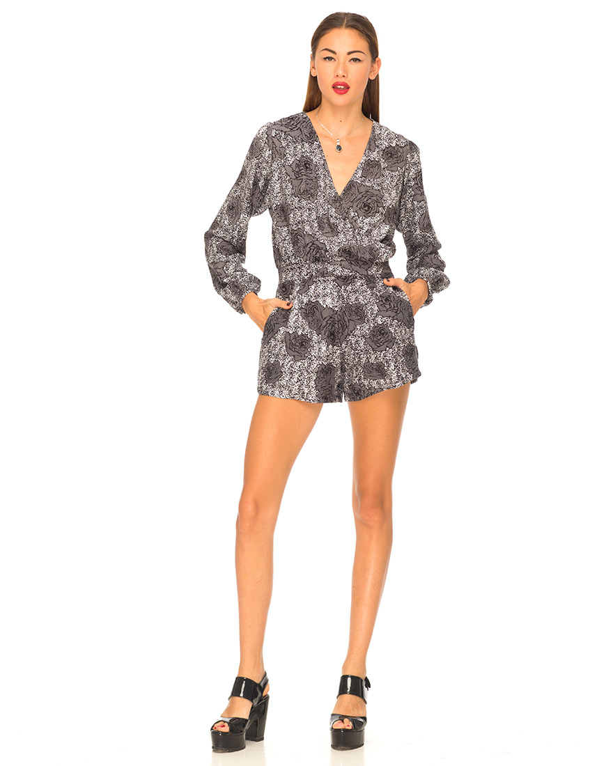 Motel City Long Sleeve Playsuit in Static Rose