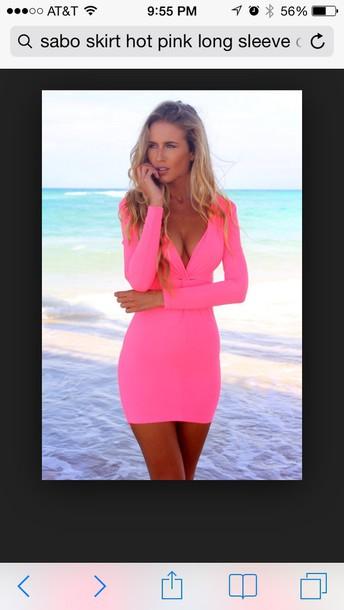 dress pink longsleeve dress