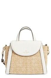 bag,straw bag,kate spade,white bag,summer,summer bag,raffia bag,shoulder bag