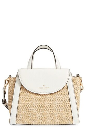 bag straw bag kate spade white bag summer summer bag raffia bag shoulder bag
