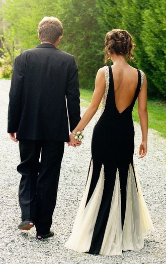 dress prom dress fashion white pearls black prom dress white black straps prom prom gown low back dress