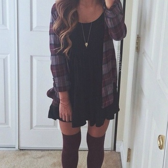 dress outfit flannel shirt stockings fall outfits