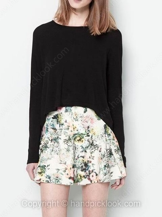 skirt skater skirt pleated skirt circle skirt floral floral skirt white cream beige beige skirt white skirt cream skirt green top