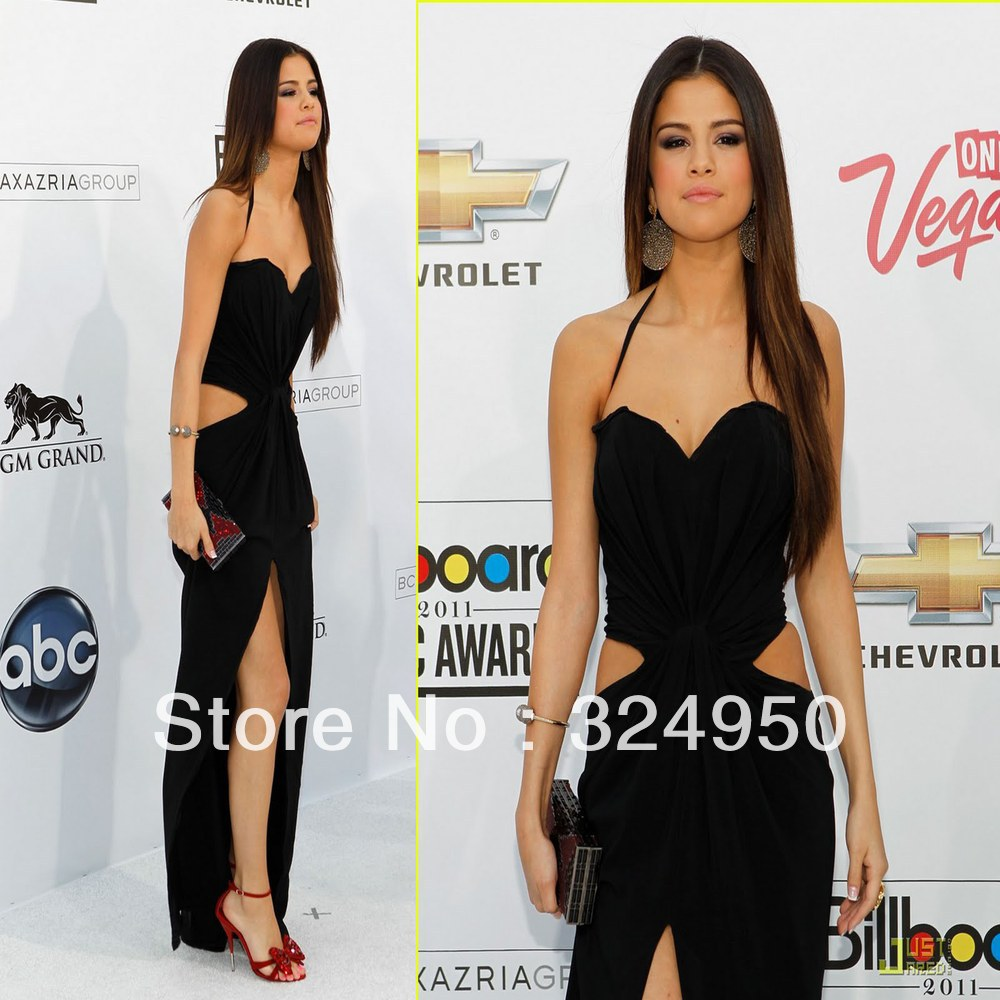 Selena Gomez Billboard Awards Sheath Sweetheart Spaghetti Strap Floor Length Chiffon Celebrity Sexy Side Slit  Dress  YZ062008-in Celebrity-Inspired Dresses from Apparel & Accessories on Aliexpress.com