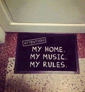 jewels,music,doormat,love more,rules,cool,tights,home decor,girl,grunge,home accessory,black,white,shoes