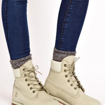 "Timberland 6"" Premium Winter White Lace Up Flat Boot on Wanelo"