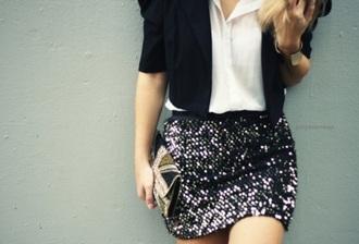 sequins dark colours cuff white shirt blazer skirt blouse