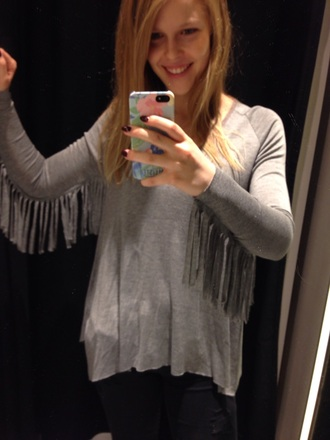 fringes grey sweater black jeans clothes fashion
