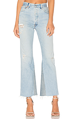 RE/DONE Levis Leandra High Rise Crop Flare in Indigo from Revolve.com