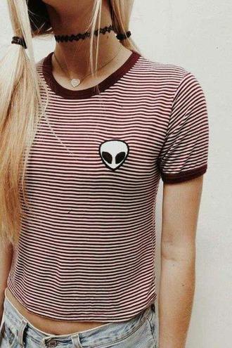 t-shirt grunge alien stripes striped shirt striped skirt burgundy choker necklace