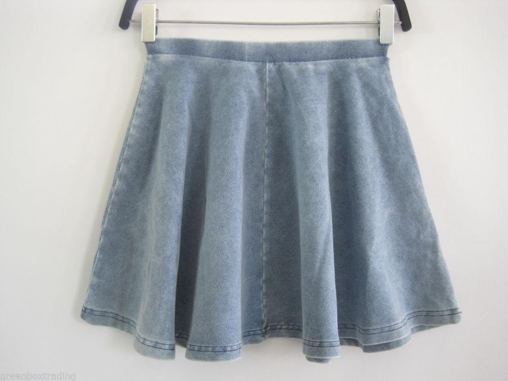 Women's Denim Skater Circle Skirt Faded Light Blue Sz US 4 Petite ...
