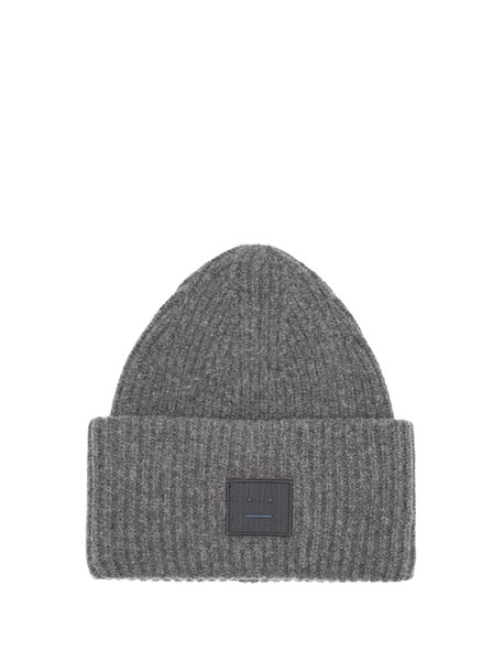 ACNE STUDIOS Pansy S Face ribbed-knit beanie hat in grey