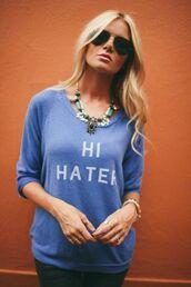 sweater,blue,sweatshirt