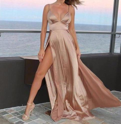 Pink Maxi With Two Slit Elegant Dress on Storenvy