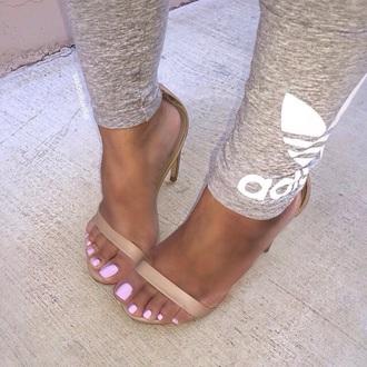 leggings grey sweatpants nude sandals nude heels adidas