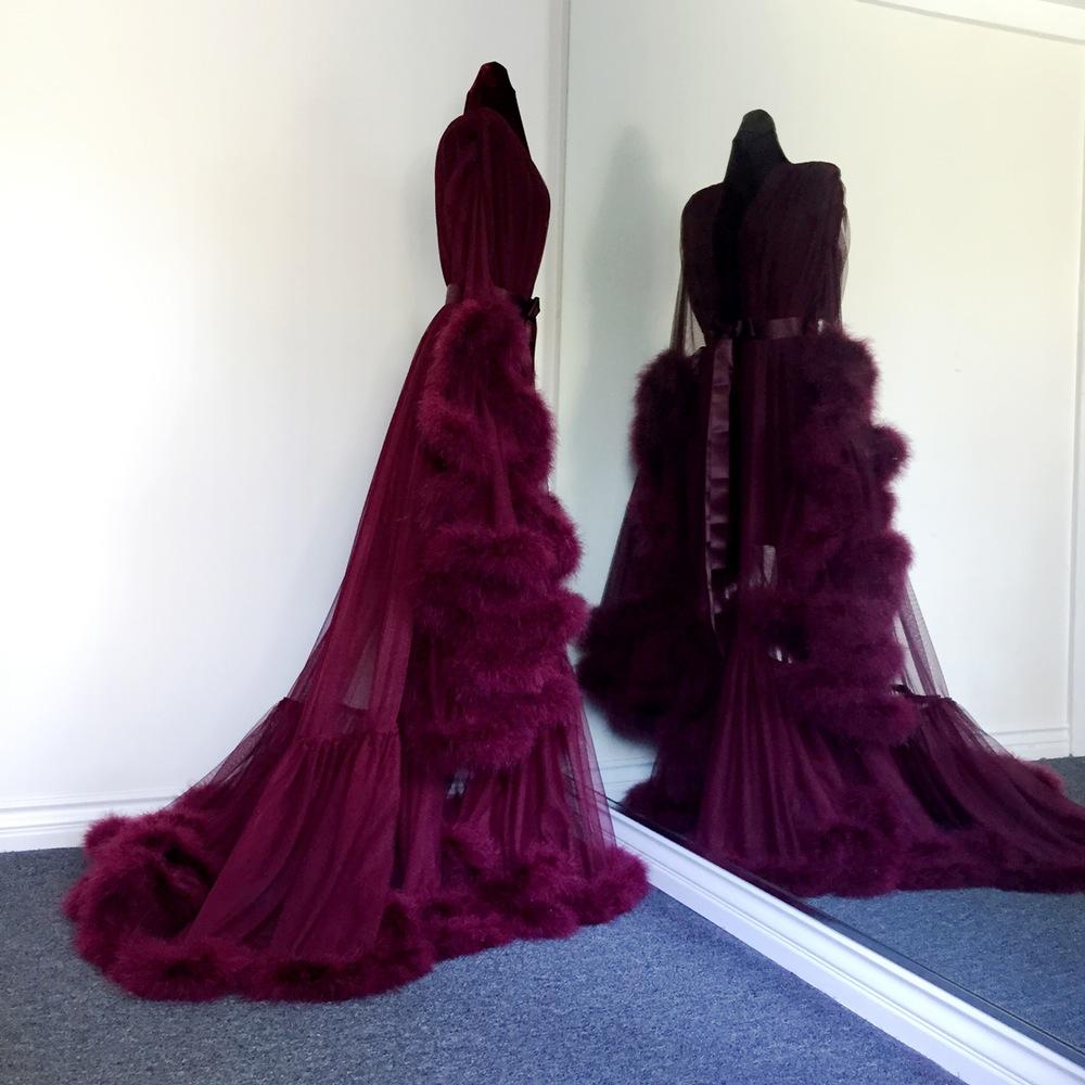 """Boudoir by D'Lish — Merlot """"Cassandra"""" Marabou Dressing ..."""
