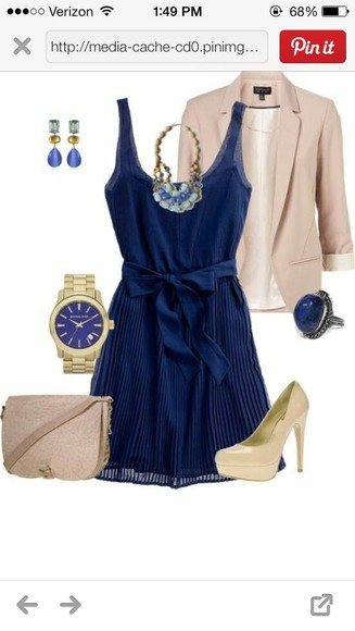 beige dress jewels coat cute navy bow blazer watch